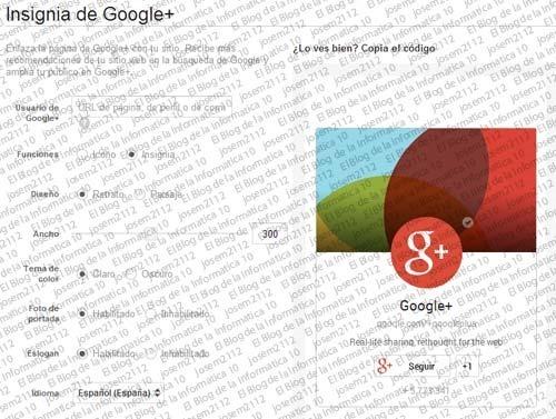 Widget de página de Google Plus - configuración insignia google plus