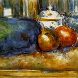Paul Cezanne (1900-1906): Still Life with Watermelon and Pomegranates. Museo de Arte de Filadelfia. Filadelfia. Postimpresionismo