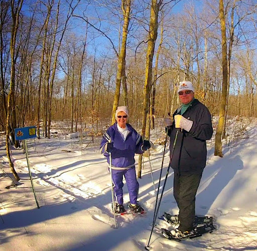 Karen and Steve Helgeson enjoying the beautiful morning on the snowshoe trail.