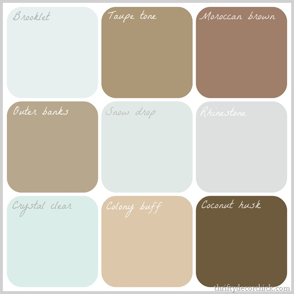 Paint palette inspired by farm fresh eggs thriftydecorchick.com