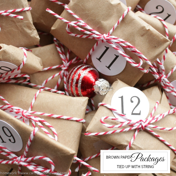 Brown Paper Packages Advent via homework | carolynshomework.com