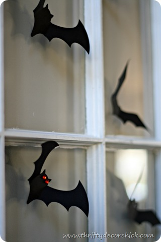 paper bats on wall Halloween