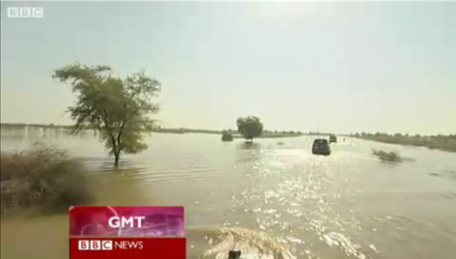 Boats motor across flooded Sindh province, Pakistan, 17 October 2011. 44 villages are marooned in this area alone. The UN says that five million Pakistanis are at risk after the monsoon floods. BBC