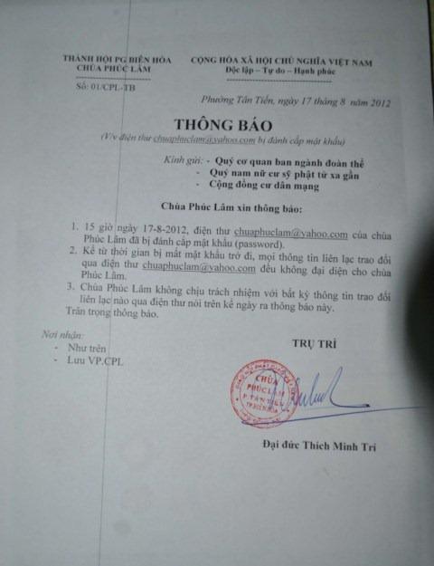 Kẻ xấu dùng email chuaphuclam@yahoo.com để lừa đảo