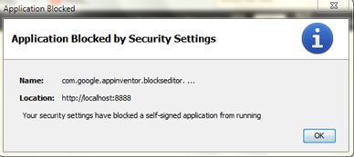 แก้ปัยหา application blocked by security settings