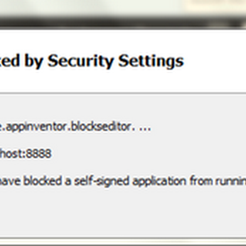 แก้ปัญหา Application Blocked by Security Settings