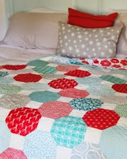 Aqua, Teal, and Red Snowball Quilt, Cluck Cluck Sew_thumb