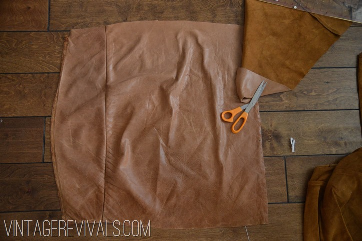 DIY Leather Pillow Tutorial vintagerevivals.com