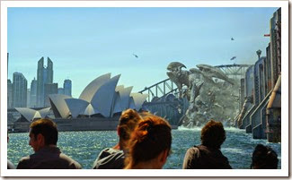 A Kaiju breaks the protective walls & enters Sydney for destruction