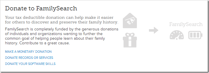 FamilySearch soliciting donations