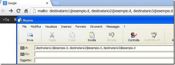 Inviare email a più destinatarii dal browser internet