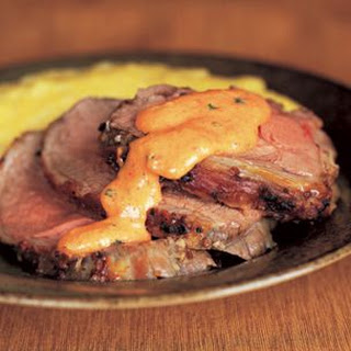 Roast Leg of Lamb with Red Pepper Sabayon