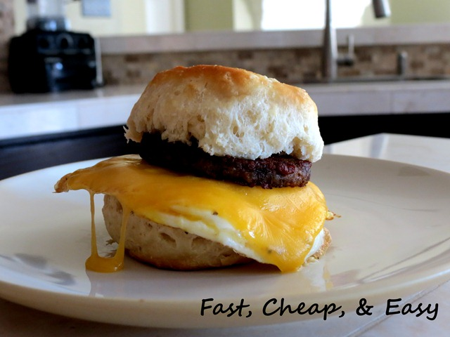 sausage egg cheese biscuit fast cheap easy 2