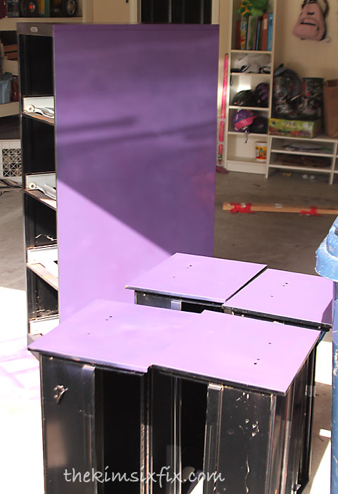 Purple painted drawers