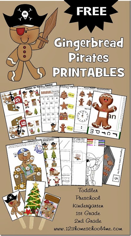 FREE Gingerbread Pirates printable worksheets for toddler, preschool, kindergarten, 1st grade, and 2nd grade