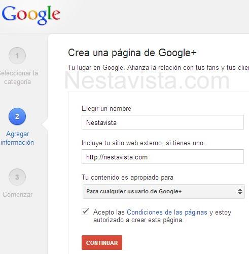 elegir un nombre a tu página en Google