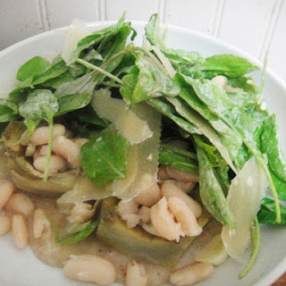 Warm Artichoke Heart Salad with White Beans, Arugula, and Salsa Verde