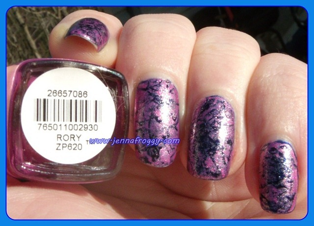 Zoya Rory Saran Wrap over Barry M Navy Label