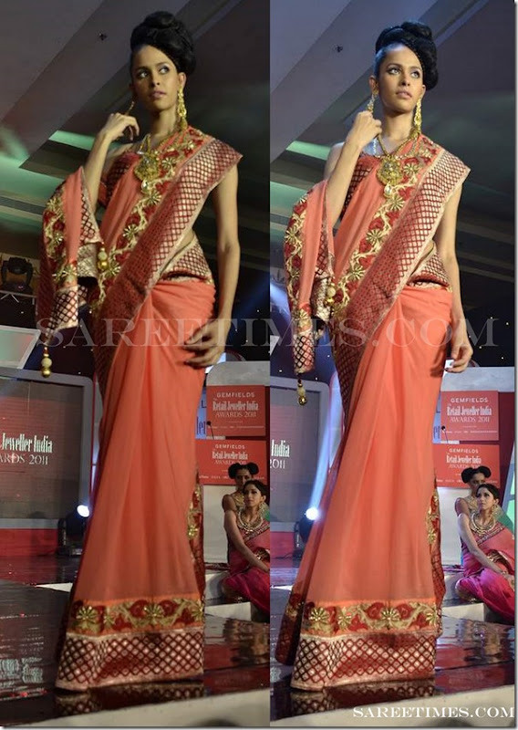 Sruthi_Sancheti_Orange_Designer_Saree