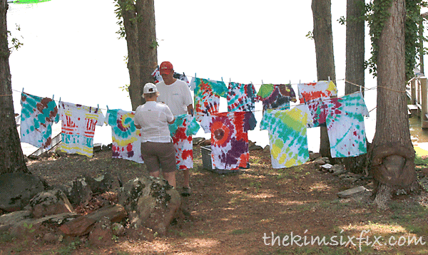 Hanging tie dye to dry