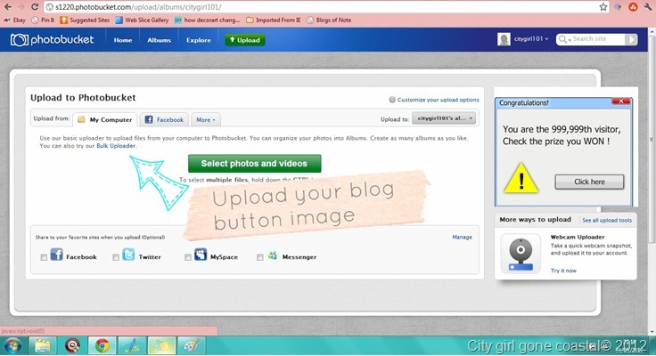 upload blog button to photobucket