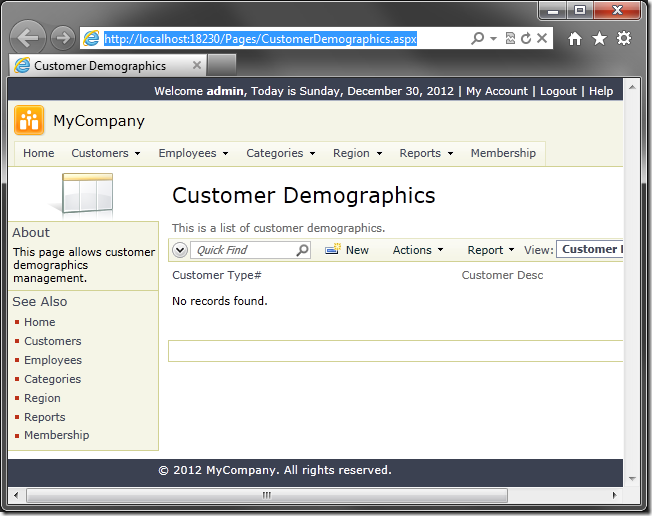 Page 'Customer Demographics' is still accessible via the URL.