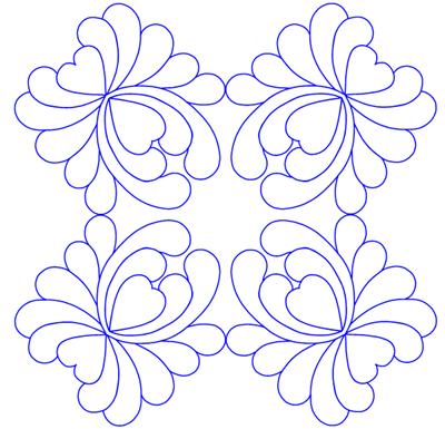 Motiv lagd i 5D QuiltDesign Creator, ved hjelp av MiniPics og Multiply.