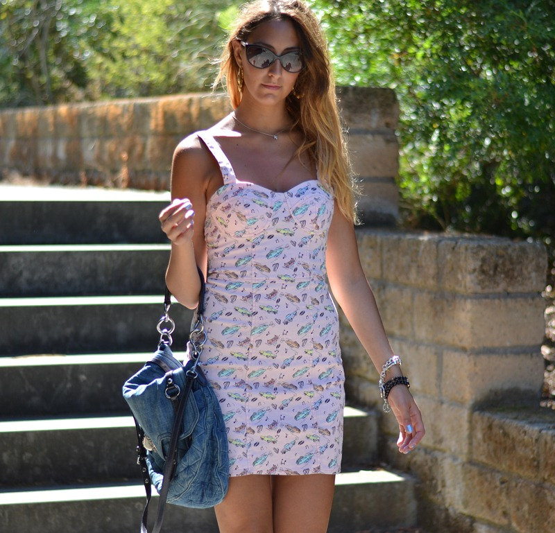 Primark, Primark Dress, Christian Dior Sunglasses, Christian Dior Zeli, Prada Style, Bamboo Hoops Earring, Converse All Star, Converse, Miu Miu Bag, Miu Miu Denim Bag
