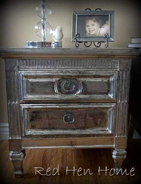 faux silver leaf nightstands