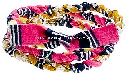 J.CREW INDEGO AFRICA CLOTH WRAP BRACELETS Pink Yellow Blue Green navy SPRING SUMMER 2012 Nicole Miller Anthropologie fair trade