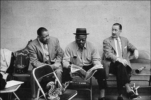 Photograph of Red Allen, Ben Webster, and Pee Wee Russell (1957)  from Bass Line by Milt Hinton.jpg