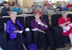 Some of our members enjoying the music whilst having a snack. Foreground L to R: Ngaire McRae; Jeanette Beamish; and, June McCrorie.