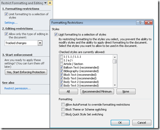 Restricting Formatting and Editing Documents Using Office 2010