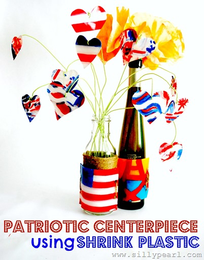 Patriotic Centerpiece Using Shrink Plastic