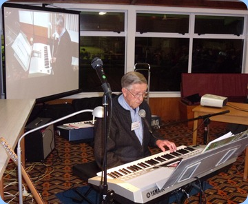 Michael Bramley sang and played his Yamaha arranger/keyboard