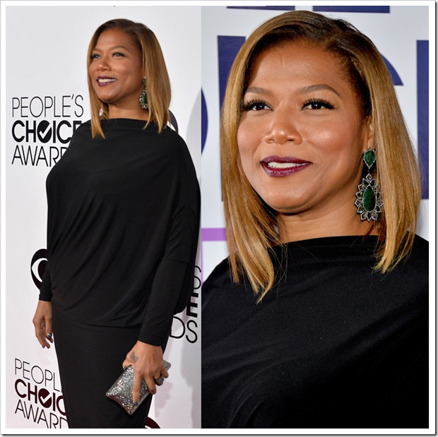 Queen Latifah rocked in a pair of vintage looking large emerald and diamond earrings