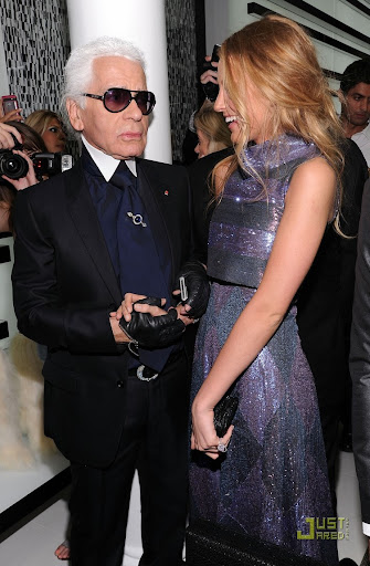 NEW YORK - SEPTEMBER 09:  Designer Karl Lagerfeld and actress Blake Lively attend the reopening of the CHANEL SoHo Boutique at the Chanel Boutique Soho on September 9, 2010 in New York City.  (Photo by Dimitrios Kambouris/Getty Images for Chanel)