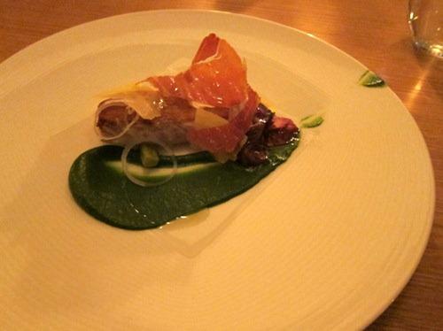 Sea bass toast, garlic kale and S. Jorge