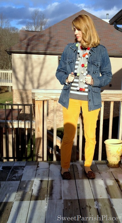 mustard corduroys denim, stripes and leopard