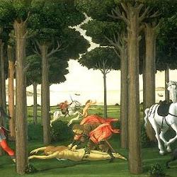 63 - Botticelli - Tabla de la historia de Nastaggio degli Honesti 3