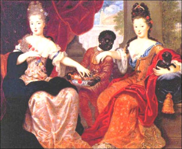 Dames de cour et enfant noir
