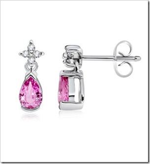 Pear Pink Sapphire and Diamond Dangling Earrings