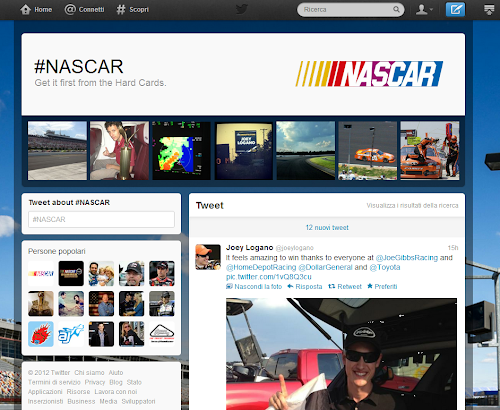hashtag page #NASCAR su Twitter