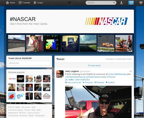 hashtag page #NASCAR su Twitter