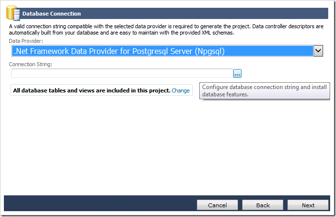 Specifying Npgsql Provider as the data provider and activating the connection string configuration screen.