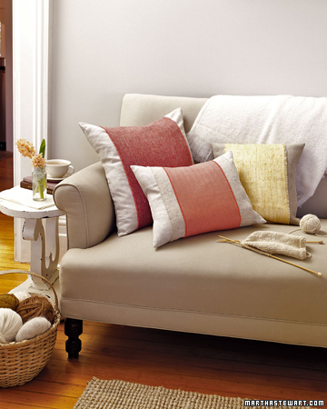 Fall & Winter: Give plain sofa pillows vibrant personalities with easy-to-make pillow bands. These are made with wool; when the weather warms, they can be swapped for a more summery material, such as a cheerful printed cotton.