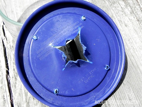 cut and punch holes in lid