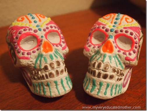@mvemother glow-in-the-dark Dia de los Muertos Skulls