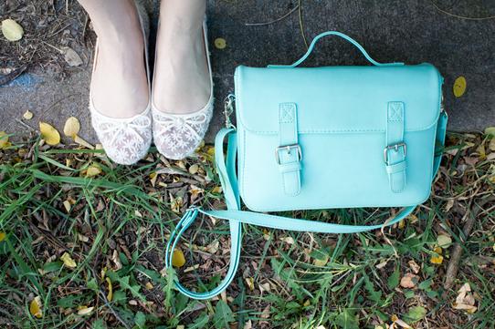 Mint green satchel & lacey ballet flats | Lavender & Twill