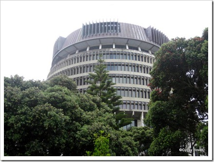 The Beehive. Part of NZ's Parliament buildings.
